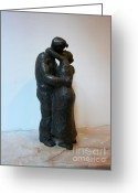 Bronze Sculpture Greeting Cards - Kiss Greeting Card by Nikola Litchkov