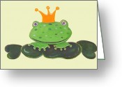 Frog Prince Greeting Cards - Kiss the Frog Greeting Card by Gabriele Utz