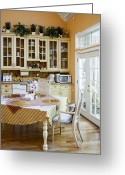 Wood Floors Greeting Cards - Kitchen Cabinets and Table Greeting Card by Andersen Ross