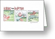 Dinosaurs Drawings Greeting Cards - Kobbs the Raptor Greeting Card by Jayson Halberstadt