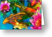 Gardens Greeting Cards - Koi play Greeting Card by Gina Signore