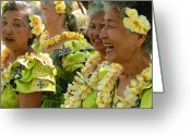 Molokai Greeting Cards - Kupuna Dancers Greeting Card by James Temple