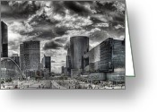 Busy Greeting Cards - La Defense PARIS Greeting Card by Melanie Viola