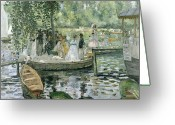 Umbrella Painting Greeting Cards - La Grenouillere Greeting Card by Pierre Auguste Renoir