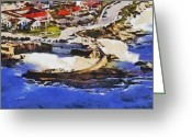 Surf Art La Jolla Digital Art Greeting Cards - La Jolla Childrens Pool Greeting Card by Russ Harris
