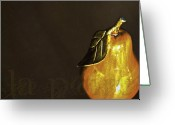 Contemporary Digital Art Greeting Cards - La Poire Greeting Card by Barb Pearson