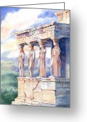 Greek Sculpture Painting Greeting Cards - Ladies in Waiting Greeting Card by Davilla Harding