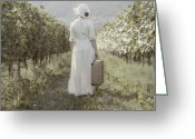 Suitcase Greeting Cards - Lady In Vineyard Greeting Card by Joana Kruse