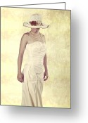 Pearl Necklace Greeting Cards - Lady in white dress Greeting Card by Joana Kruse