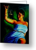 Justice Greeting Cards - Lady Justice Greeting Card by Laura Pierre-Louis