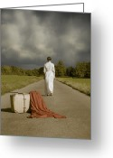 Anonymous Photo Greeting Cards - Lady On The Road Greeting Card by Joana Kruse