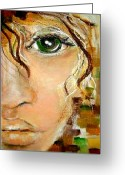 Provocation Greeting Cards - Lady With Green Eye Greeting Card by Patty Meotti