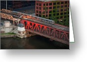 Train Photo Greeting Cards - Lake Street Crossing Chicago River Greeting Card by Steve Gadomski