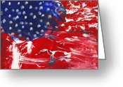 Red White And Blue Mixed Media Greeting Cards - Land of Liberty Greeting Card by Luz Elena Aponte