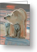 Cubs Painting Greeting Cards - Land of the Midnight Sun Greeting Card by Donald Maier