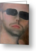 Metallica Painting Greeting Cards - Lars Ulrich Greeting Card by Patricia Cleasby