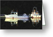 Gill Island Greeting Cards - Last light  island moorage Greeting Card by Gary Giacomelli