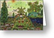 Botanical Drawings Greeting Cards - Lebedy village visited by T. G. Shevchenko sometimes Greeting Card by Marfa Tymchenko