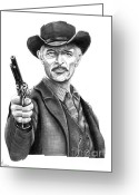 Western Pencil Drawing Greeting Cards - Lee Van Cleef Greeting Card by Murphy Elliott