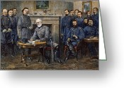 Signing Greeting Cards - Lees Surrender, 1865 Greeting Card by Granger
