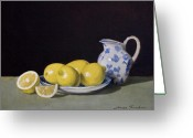 Pitcher Painting Greeting Cards - Lemon Cream Greeting Card by Linda Tenukas