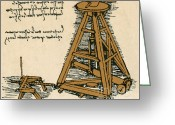 Vinci Greeting Cards - Leonardo Da Vincis Lifting Machine Greeting Card by Science Source