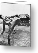 Satchel Paige Greeting Cards - Leroy R. Paige (1906-1982) Greeting Card by Granger