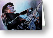 Rock Band Greeting Cards - Les Claypool Greeting Card by Al  Molina