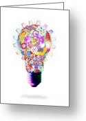 Saving Greeting Cards - Light Bulb Design By Cogs And Gears  Greeting Card by Setsiri Silapasuwanchai