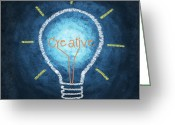 Brain Greeting Cards - Light Bulb Design Greeting Card by Setsiri Silapasuwanchai