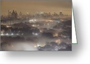 City Lights And Lighting Greeting Cards - Light Pollution And Fog Combine To Blur Greeting Card by Jim Richardson