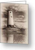 Railings Greeting Cards - Lighthouse  Greeting Card by Adrian Evans