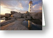 North America Greeting Cards - Lighthouse At Sunset Greeting Card by Richard Nowitz