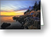 Bass Harbor Greeting Cards - Lighthouse on a Cliff at Sunset Greeting Card by George Oze