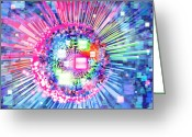 Sun Abstract Digital Art Greeting Cards - Lighting Effects And Graphic Design Greeting Card by Setsiri Silapasuwanchai