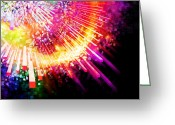 Sun Abstract Digital Art Greeting Cards - Lighting Explosion Greeting Card by Setsiri Silapasuwanchai