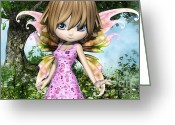 Hob Greeting Cards - Lil Fairy Princess Greeting Card by Alexander Butler