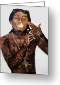 Carter Greeting Cards - Lil Wayne  Greeting Card by Christopher  Chouinard