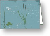 Willows Digital Art Greeting Cards - Lily Pad with Frog Greeting Card by Ted Kitchen