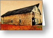 Door Hinges Greeting Cards - Lime Stone Barn Greeting Card by Julie Hamilton