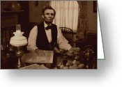 Military Pictures Greeting Cards - Lincoln at Breakfast Greeting Card by Ray Downing