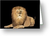 Feline Greeting Cards - Lion painting Greeting Card by Setsiri Silapasuwanchai