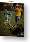 Soccer Stadium Greeting Cards - Lionel Messi Breaking Raphael Cabrals Ankles II Greeting Card by Lee Dos Santos