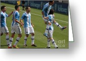 Kicking Football Greeting Cards - Lionel Messi The Hug Greeting Card by Lee Dos Santos