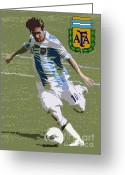Soccer Stadium Greeting Cards - Lionel Messi The Kick Art Deco Greeting Card by Lee Dos Santos