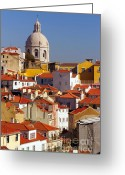Concrete Greeting Cards - Lisbon View Greeting Card by Carlos Caetano