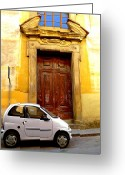 Street Scene Greeting Cards - Little Car of Florence Greeting Card by Jen White