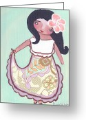 Island Cultural Art Greeting Cards - Little Chamorita Greeting Card by Jennifer R S Andrade
