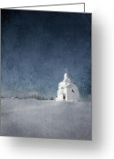 Country Prints Greeting Cards - Little White Church Greeting Card by Larysa Luciw