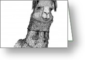 Custom Culture Greeting Cards - Llama Greeting Card by Karl Addison